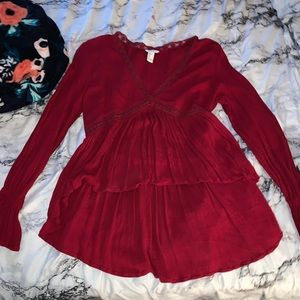 High low red long sleeve blouse